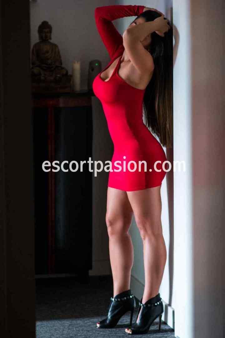 hermosa puta, elegante en vestido rojo puede acompañarte a una cena o evento