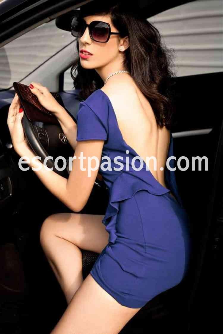 escort de curvas sensuales lleva un vestido azul elegante perfecta para ser tu compañia en una fiest